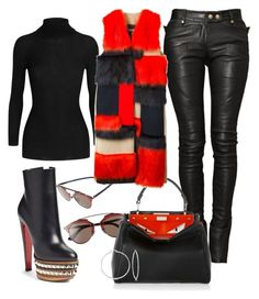 """""""Fuurreal"""" by styledbysixx ❤ liked on Polyvore featuring Christian Dior, Christian Louboutin, Balmain, Fendi, Gucci, MSGM and Ross-Simons"""