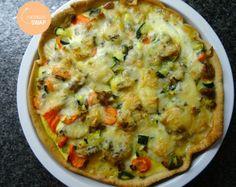 Hartige taart met courgette, wortel, gehakt en gorgonzola