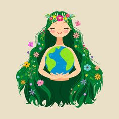 Beautiful Flowing Flower Earth Mother Figure by littlebunnysunshine Save Our Earth, Love The Earth, Earth Drawings, Mode Poster, Illustration Art, Illustrations, Environmental Art, Earth Day, Art Inspo