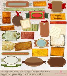 INSTANT DOWNLOAD Vintage Frame Label Tags Design door SasiyaDesigns