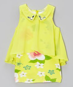 Look what I found on #zulily! Yellow Floral Shift Dress - Toddler & Girls by Blossom Couture #zulilyfinds