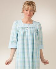 Miss Elaine 3/4 Sleeve Zip Front Long Seersucker Robe - Aqua Plaid