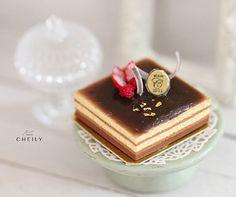 Dollhouse miniature dessert French Opera Cake by CheilysMiniature