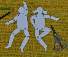 Download the template to make the girl and boy jumping jacks plus the instructions for adding string to the back so that when pulled your puppets