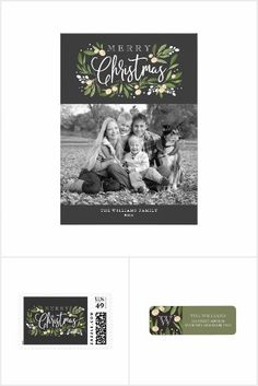 Christmas Holly Collection | Photo Christmas  Card, stamp, label, stickers | Holiday Greetings