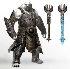 Concept art of kodan maces for Guild Wars 2 by Kekai Kotaki