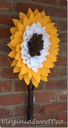 Felt flower summer wreath, also could do small sunflowers as pins