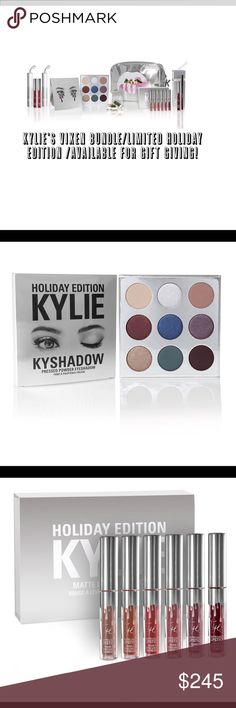 🎄🎁/Kylie's Vixen BUNDLE/Limited Edition Products 🎄🎁/Nip/Kylie Cosmetics/THE VIXEN BUNDLE/FAB Holiday Gift 4 UR Kylie's GIRL! 1 Dancer Metal(Shimmer ruby wine)/1 Jolly Gloss(blk burgundy)/1 Vixen Lip Kit=1 Lipstick+1 LipLiner/+1 Mini Kit Matte Lq Lipsticks w 6 shades:1)Moon/2)Ginger/3)Kristen/4)Angel/5)Love Bite/6)Vixen/+1 CamoCrème Shadow(forest grn)/+1 Kyshadow Holiday Palette=9 Shadows…