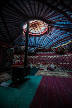 inside a kyrgyz yurt in tajikistan Places Around The World, Around The Worlds, Yurt Interior, Brunei, Asia Travel, Travel Tourism, Yurt Living, Eco Buildings, Sri Lanka