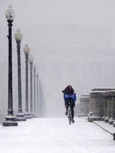 potskii:Flickrの上Biketripperによって2009年1月27日、雪の中でメモリアルブリッジ経由でサイクリング。