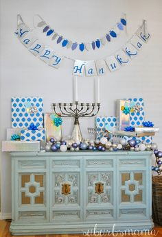 I put up our hanukkah decorations last night and the kids were so excited when they saw it all this morning! Just some brief overv. Jewish Hanukkah, Feliz Hanukkah, Hanukkah Crafts, Jewish Crafts, Hanukkah Decorations, Gold Christmas Decorations, Christmas Hanukkah, Hannukah, Happy Hanukkah