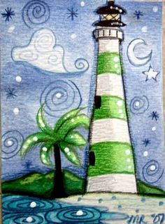 Green stripes lighthouse