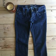 Express Barely Boot Jeans Rarely worn. Color doesn't show sign of fading, it's still a very classic dark blue denim color. Express Jeans