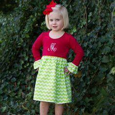 11/6/2013  Red & Green Chevron Long Sleeve Lily Dress