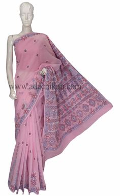 Ada #handembroidered #Pink #Cotton #Lucknow #Chikan Saree With Blouse - A156850 - #AdaChikan