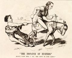 """""""A caricature showing Gladstone on a donkey, marked """"reform"""", being held back by Disraeli and a working-class man, who are holding the donkey's tail."""" Gladstone was an icon of liberalism while Disraeli was the same for British Conservatism. Modern World History, Jewish History, United States Of Europe, Disraeli, British Prime Ministers, University Of Virginia, Theresa May, Gladstone, The Donkey"""