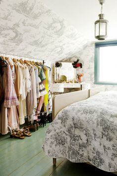 Attic- this is what you do with a dormer room.  But all your clothes have to look good hanging there.  Good for teen girl space.
