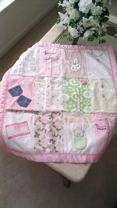 Love this idea! Baby Girls Memory Blanket by TMEbyRebekah on Etsy, $95.00
