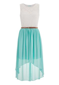 Belted Lace Top High-Low Dress - Green