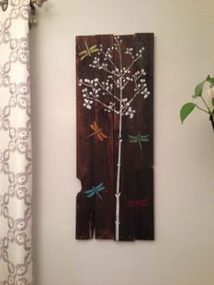 Large Rustic Dark Stain Tree Dragonfly Wall Art by JMPalletDesign, $77.00
