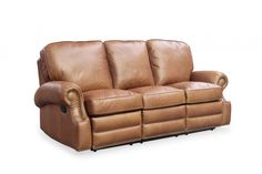 Barcalounger Longhorn Sofa Recliner, Chaps Saddle. If you desire big comfort the Longhorn is perfect. The solid pillow back and rolled arms deliver a classic look with decorative nail head trim and relaxing comfort.Features Traditional Style Leggett and Platt Activated not operated, Mechanisms bolted to frame with I bolts,1.8 Resiliency Foam, delrin bushings on all mechanisms, upholstered handles, padding on backs and sides of all chairs Hardwood and Plywood Frames with Mortise and tension…