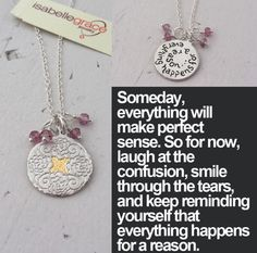 Everything Happens Necklace - It can be hard to understand life at times. Throughout the good times, bad times, and everything in between, 'Everything happens for a reason.' Keep these words close to your heart. It may not always be clear what these reasons are, but the truth will reveal itself in due time. Available in sterling silver with 22kt gold accents or in vermeil, the necklace also features a semi-precious stone fringe available in Black or Pink Mystic Topaz.