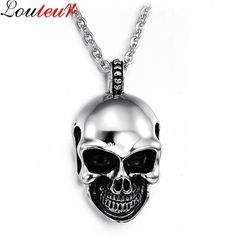 Louleur 2017 New Hip Hop Cool Skull Necklaces & Pendants for Men Punk Rock Stainless Steel Chain Male Necklace Collier F8078