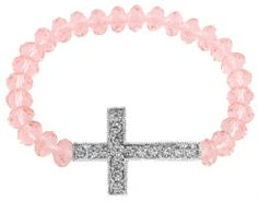Pink Shamballah Stretch Bracelet with an Iced Out Cross Charm and 25 Glass Beaded Balls