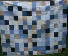 Luca's quilt. Made with the Mr's old business shirts (and one from our first date).