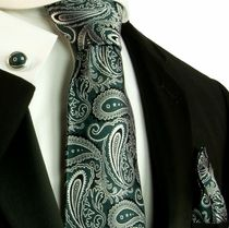 Silk Necktie Set by Paul Malone . Emerald Green and Silver Paisley in Clothing, Shoes & Accessories,Men's Accessories,Ties Green And Grey, Grey And White, Groomsmen Ties, Paisley Tie, Grey Tie, Cool Ties, Groom Style, Suit And Tie, Silk Ties