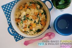 We all want easy when it comes to dinner, &this is just that. Simple Oven-Baked Pumpkin, Feta and English Spinach Risotto that takes less than 45 minutes!