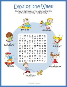 Help beginning readers learn the names of the week with this colorful and cute printable  worksheet.  Perfect supplement when teaching about the calendar.
