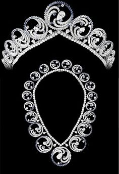 Monaco, From Tiara to Necklace  - see the video of the tiara's construction to see the colour of the sapphires