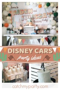 Don't miss this awesome Disney Cars birthday party! The dessert table is so coo… Don't miss this awesome Disney Cars birthday party! The dessert table [. Disney Cars Party, Disney Cars Birthday, Cars Birthday Parties, Birthday Party Decorations, 3rd Birthday, Car Party, Party Themes, Dessert Table, Names Baby