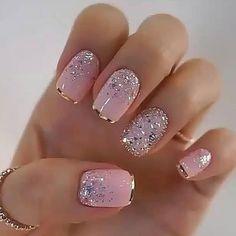 Glamour Nails, Classy Nails, Fancy Nails, Elegant Nails, Stylish Nails, Trendy Nails, Pink Nails, White Nails, Glitter Nails