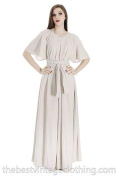 5689e54e5f2 Vintage Vuokko Designer Angel Sleeve Tent Dress Maxi Gown Dove Angel Sleeve
