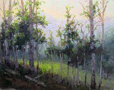 """Spring Aspen 12""""x16"""" oil landscape by Becky Joy"""