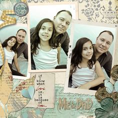 I won Scrapgirls' December Scrap Club Kit Contest with this layout featuring my husband and my daughter.