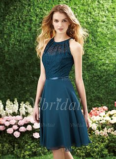 Bridesmaid Dresses - $90.63 - A-Line/Princess Scoop Neck Knee-Length Chiffon Lace Bridesmaid Dress With Sash - Still one of my favourites! AND it comes in purples!!! Also would go well with Barb's dress choice, I think