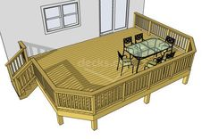 This basic 1 level x deck with clipped corners is an easy to build and economical choice. You may reposition the stairs and adjust the deck height to suit your needs. Deck Cost, Pergola Cost, Pergola Plans, Pergola Ideas, Deck Pergola, Backyard Patio, Deck Landscaping, Patio Decks, Corner Pergola