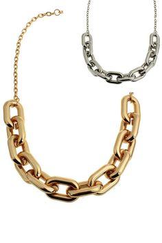 #Romwe Oval Interlocking Ring Pendant Necklace