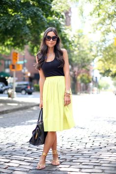 "Chartreuse midi skirt ♥♡♥♡♥Thanks, Pinterest Pinners, for stopping by, viewing, re-pinning,  following my boards.  Have a beautiful day! ^..^ and ""Feel free to share on Pinterest ^..^ #streetfashion   #fashionupdates   #women"