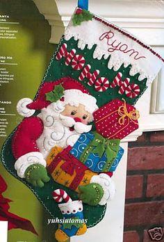 icu ~ Pin em natal ~ Bucilla Ho-Ho-Ho Santa Felt Christmas Stocking Kit Presents, Gifts Cute Christmas Stockings, Santa Stocking, Christmas Stocking Pattern, Felt Stocking, Christmas Stocking Stuffers, Felt Christmas Ornaments, Etsy Christmas, Christmas Projects, Christmas Decorations
