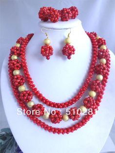 Free Shipping!!! Fashion Red Coral Ball Necklace Jewelry Set For African Wedding or Party $80.26