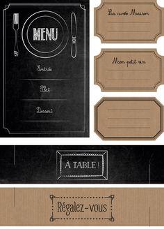 """Cartes """"bistrots"""" (menu), étiquettes et ronds de serviettes"""