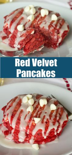 Red Velvet Pancakes - light and fluffy pancakes with a hit of chocolate and a cream cheese glaze. Enjoy the taste of dessert for breakfast with these fun pancakes! Breakfast Buffet, Breakfast For Dinner, Breakfast Ideas, Best Breakfast Recipes, Brunch Recipes, Dessert Recipes, Desserts, Fun Easy Recipes, Delicious Recipes