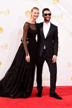 Pin for Later: The Small Screen's Hottest Stars on the Emmys Red Carpet! Adam Levine and Behati Prinsloo Adam Levine, Behati Prinsloo, Maroon 5, Celebrity Red Carpet, Celebrity Style, Adam And Behati, Jewish Wedding Ceremony, Cute Celebrity Couples, Classic Tuxedo