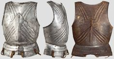 """Gothic breastplate, Milan, c.1480/90 Two-piece placard breastplate, upper (threefold fluting on both sides), waist (central ridge and fourfold fluting on both sides). On the base of the nape a double-struck armourer's mark with """"s""""(?) and """"h"""" in Gothic minuscules underneath a cross. The shoulders with original rivets for attachment straps with silver rosettes decorated in relief. Attached original skirt of three lames with central ridge, the lower one with double fullers. Height 43.5 cm."""