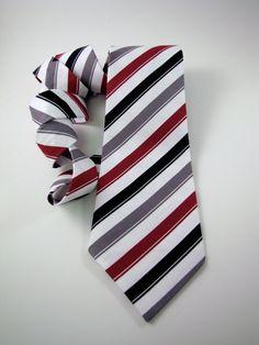 Men's Necktie  Grey Red White and Black Stripe by ChipmunkPoint, $28.00