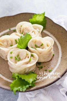 Japanese Gyoza rose shaped like a rose flower! It is called Bouquet Gyoza in Japan but I name it Gyoza rose because it is Gyoza version of Apple rose. Japanese Gyoza, Japanese Dishes, Japanese Food, Tofu Recipes, Asian Recipes, Cooking Recipes, Wonton Recipes, Dumpling Recipe, Dumplings